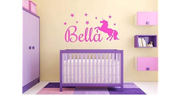 Custom name Unicorn Monogram Theme Wall Sticker Vinyl Home Decor For Girls Room