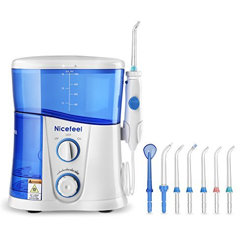 COOLYOO Nicefeel Munddusche Mundpflege UV Dental Water Jet Dental Wasserstrahlmunddusche Dusche Oral Waterflosser mit 10 einstellbar Düsen-1000ml für Familie