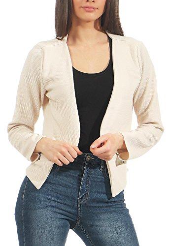 Malito Damen Blazer ohne Kragen | Sakko im Basic Look | Kurzjacke mit Zipper | Jacke - Jackett - Blouson 6040 (Creme, L)