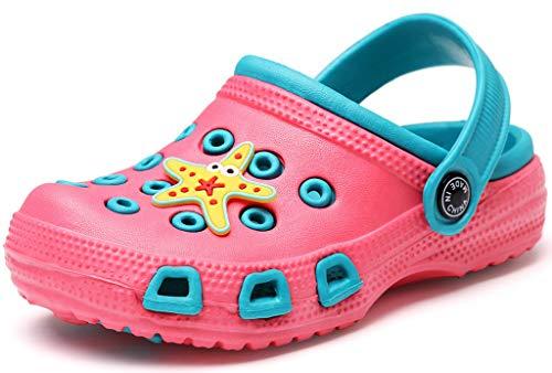 Gaatpot Kinder Clogs Pantoletten Mädchen Jungen Sandalen Slip On Outdoor Flach Hausschuhe Geschlossene Strand Sandale Schuhe Sommer Pink (Paradise) 27