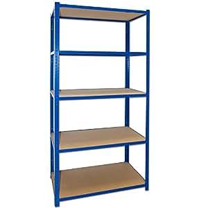 Emboîter 520B pEGASUS étagère meuble de rangement :  200 x 100 x 60 cm avec 5 tablettes de rangement à suspendre sous une étagère bleu