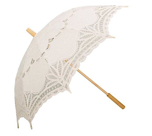 Sonnenschirm Spitze, Coofit Brautschirm Damen Regenschirm Hochzeit Gesticktes Cotton Vintage Sonnenschirm ()