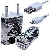 Seluxion - Chargeur maison + allume cigare USB + câble data CV11 pour Archos : 35 Carbon/ 40 Titanium/ 45 Helium 4G/ 45 Platinum/ 45 Titanium/ 50 Helium 4G/ 50 Oxygen/ 50 Platinum/ 50 Titanium/ 53 Platinum/ 53 Titanium