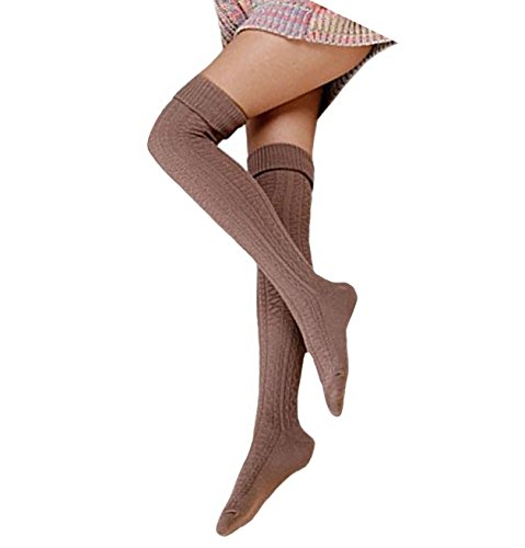 Cindeyar 1 Paar Damen Overknee Strümpfe Lange Kniestrümpfe Retro Schüler Überknie Strick Socken (Khaki)