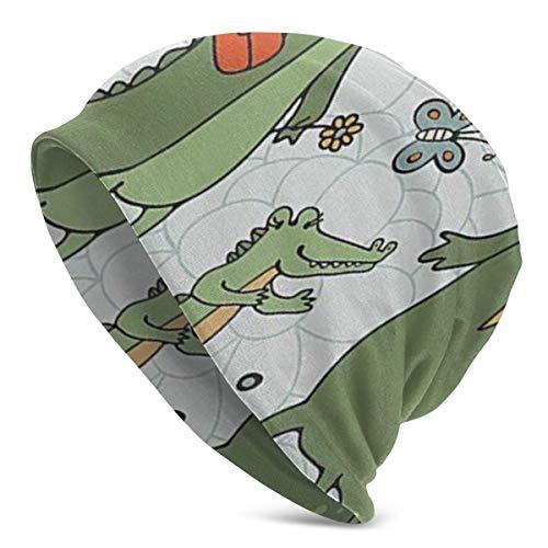 Uosliks Ich Liebe Mein Familienthema Nette Hand gezeichnete Alligatoren Natürlicher Hintergrund Spaß Grafik (2) Strickmütze Hut Kappe Wintermütze Hüte Cu -