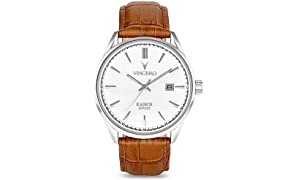 Vincero Luxury Men's Kairos Wrist Watch - Silver with Tan Leather Watch Band - 42mm Analog Watch - Japanese Quartz Movement