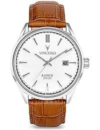 28ad20e7169 Montre bracelet de luxe Vincero Kairos pour homme - Argenté avec bracelet  en cuir tanné -