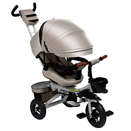 Cochecito de bebé, GUO@ Prevención de vuelcos Ligero Plegable Triciclo para niños 1-4-7 años Carro...