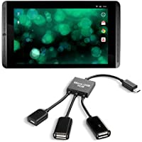 kwmobile Adaptador Micro USB 3en1 OTG HUb para Nvidia Shield Tablet / Shield K1 Tablet - Distribuidor micro USB en negro