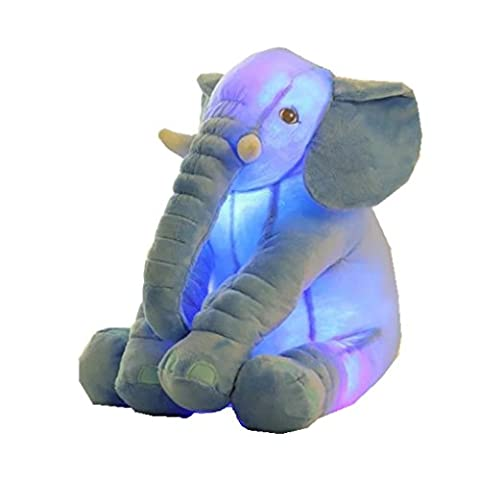 RichDeer Baby Kind Elefant Schlaf Stuffed weichem Plüsch Kissen Lendenkissen Plüschtiere Stoffspielzeug besten Geschenke für Kinder und Baby Mehrfarbig (Blau mit Licht)