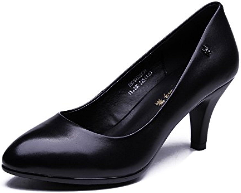 RENHONG Lady Sommer Stiletto Heels Schwarz Leder Spitze Elegante Büroarbeit Bankett Kleid High Heel Schuhe
