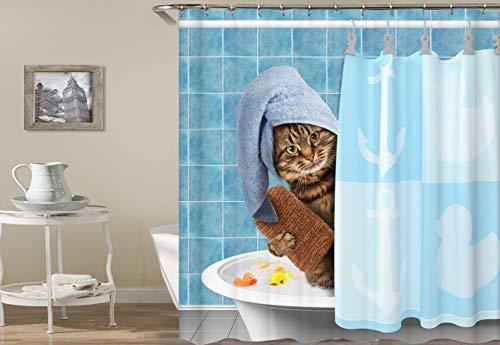 immer Duschvorhang weiße Badewanne braune Katze gelbe Ente blaues Kopftuch Duschvorhang Badezimmer Home Dekorationen wasserdichter Vorhang ()