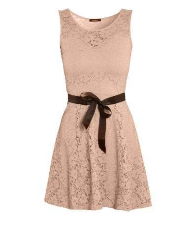 Morgan - Robe - Cocktail - Uni - Sans manche - Femme Beige