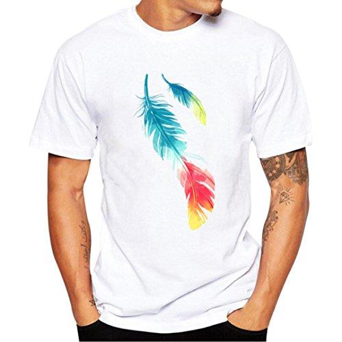 ASHOP Herren Tshirt, Männer Tops mit Frontprint und Rundhalsausschnitt Spring Summer Shirts Printing Kurze Streetswear Tees (Weiß+C, 4XL)