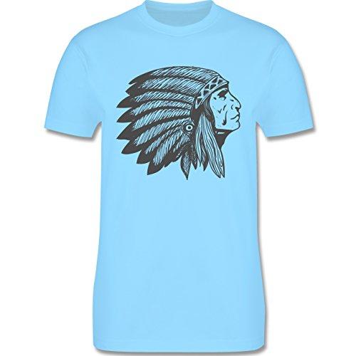 Festival - Indianer Häuptling Handzeichnung - Herren Premium T-Shirt Hellblau