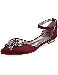 Charmstep Zapatos de novia para mujer bailarinas con hebilla de satén plano para fiesta 5047-