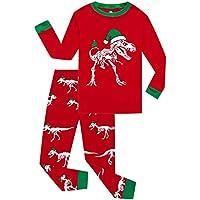 Hawkimin Kinder Pyjama Junge Mädchen Langarm Weihnachten Cartoon Dinosaurier Knochen Drucken T-Shirt Top + Hosen Zweiteiler Home Service