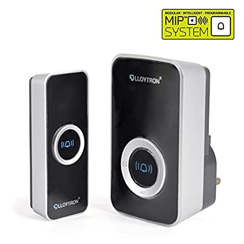 Mains Plug-in Wireless Doorbell / Door Chime and Waterproof Push Button with 150m range, 32 Melodies and Strobe / iCHOOSE /