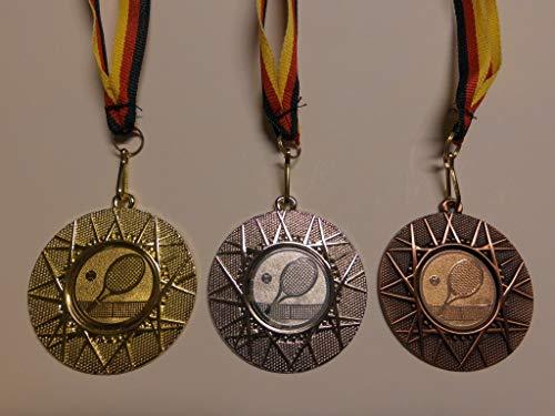 Fanshop Lünen Medaillen Set - aus Metall 50mm - Gold, Silber, Bronze - Tennis - Damen - Herren - Medaillenset - mit Emblem 25mm - Gold, Silber, Bronce - (e225) -
