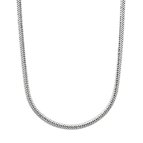 2mm Durable Solid Stainless Steel Rounded Snake Link Chain Necklace, 45.5 cm + Jewelry Polishing Cloth