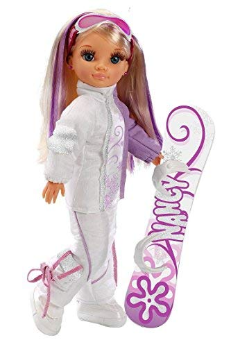 Famosa 700004996/18816 Nancy Detailed Skiing muñeca with Snowboard y Goggles