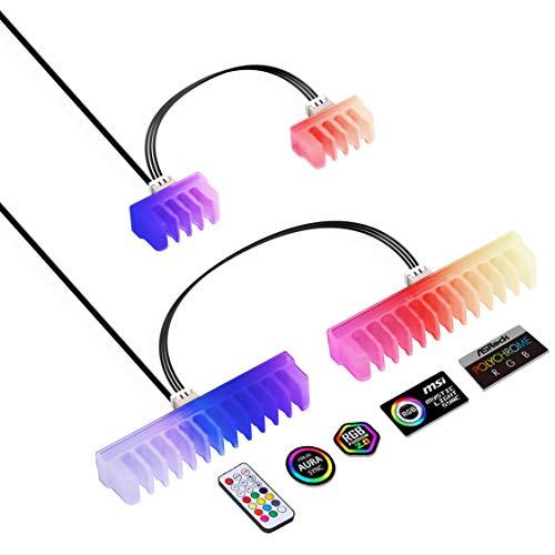 EZDIY-FAB RGB Kabelkamm – 2 x 24-polige und 6 x 8-polige RGB LED Kämme für Kabel Management mit RF Fernbedienung