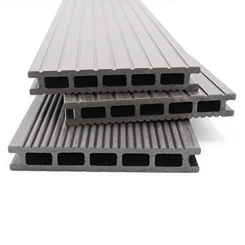 HORI® WPC-Terrassendielen Malta grau I Komplett-Set inkl. 40x60 mm Unterkonstruktion & Clips I Dielenlänge 5,40 m I Fläche 13 m²