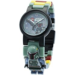 Lego LEGO Star Wars Boba Fett Minifigure Children's Quartz Watch with Grey Dial Analogue Display and Multicolour Plastic Link Strap 8020448