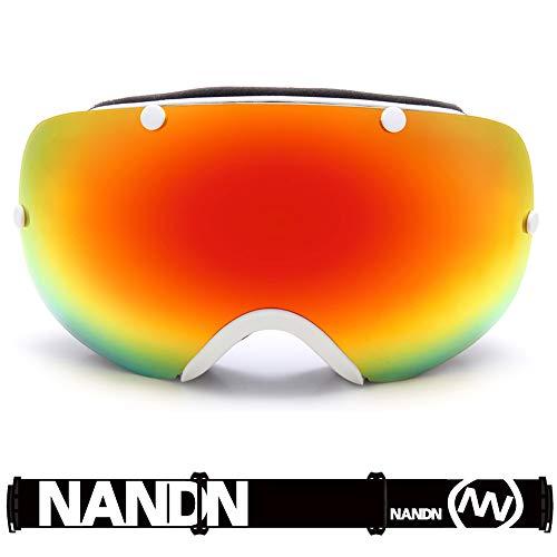 Skibrille für Männer und Frauen, Anti-Fog-UV-Schutz sphärische REVO-Spiegellinse mit Überbrille OTG für Skibrille und Snowboard von Mountain Master - Mountain Pottery
