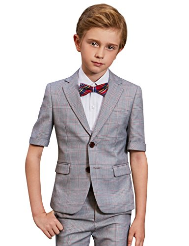ELPA ELPA Kinder Anzug Jungen Slim Fit Formal Plaid Sommerkleid Wear Jacke Shorts Shirt Bowtie Sets