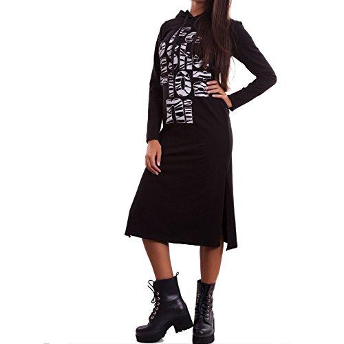Vestito donna lungo spacchi cappuccio scritte manica lunga sexy nuovo CJ-1658 [Taglia unica,Grigio Chiaro Melange] Nero