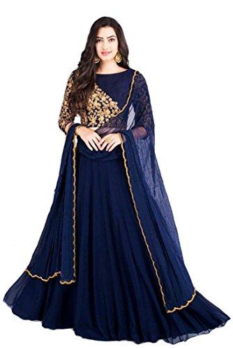 Monika Silk Mill Women\'s Silk & Georgette Embroidered Royal Blue Semi Sititched Lehenga Choli