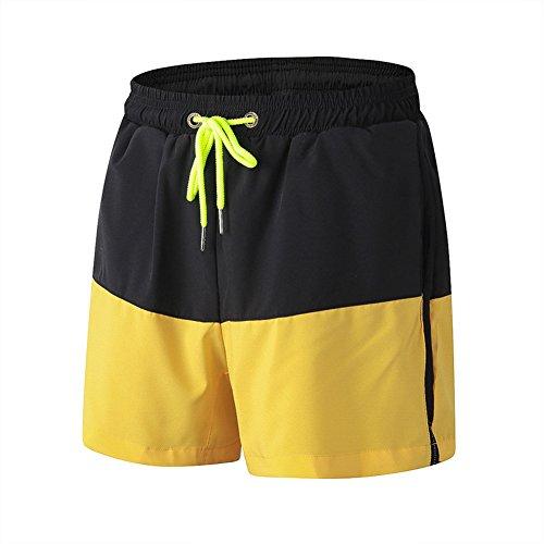 Junshan shorts Trainingsshorts kurze Hose für Herren schwarz+gelb