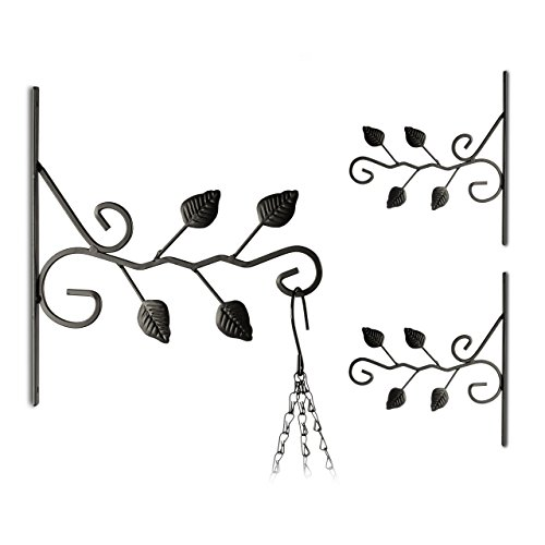 3x Blumenhaken, verschiedene Motive, Blumenampelhalter für Wand, Metall Garten-Deko, schwarz (Blätter) -