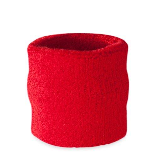 suddora Handgelenk Schweißband–Athletic Baumwolle Frottee Armband für Sport rot rot