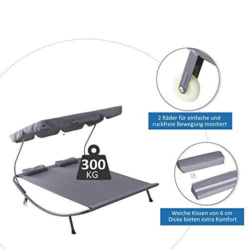 Outsunny Doppelliege Sonnenliege Relaxliege rollbar mit Dach Stahl Grau 200 x 173 x 155cm - 4