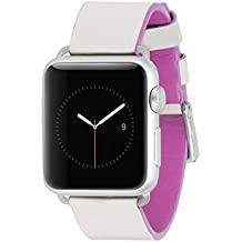Case-mate Edged Leather Band Marfil, Rosa - accesorios de relojes inteligentes (Band, Marfil, Rosa, Apple, Apple Watch 38mm, Cuero)