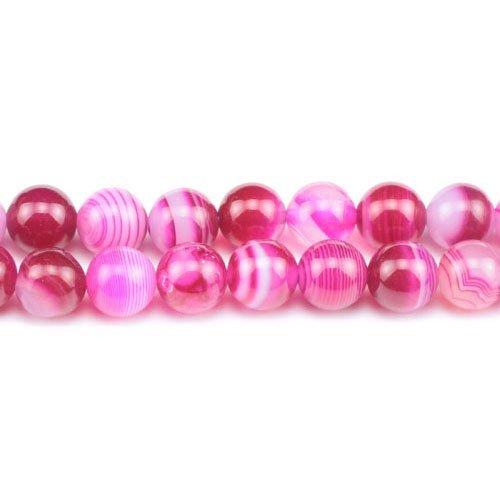 Filo 38+ fucsia agata fasciato 10mm tondo perline gs0265-3 (charming beads)