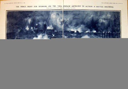 Heftige Artillerie-Vorgangs-Deutsche 1914 Kampf Dixmude Yser Französische