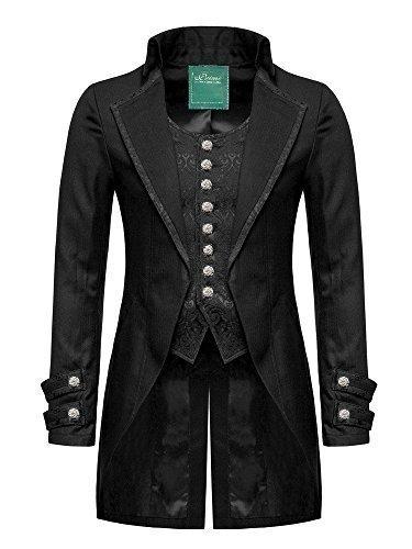 Star Leather 100% Algodón Gótico para Hombre de Día Chaqueta FRAC Negro steampunker Victoriano Boda/Fiestas - Negro, X-Large