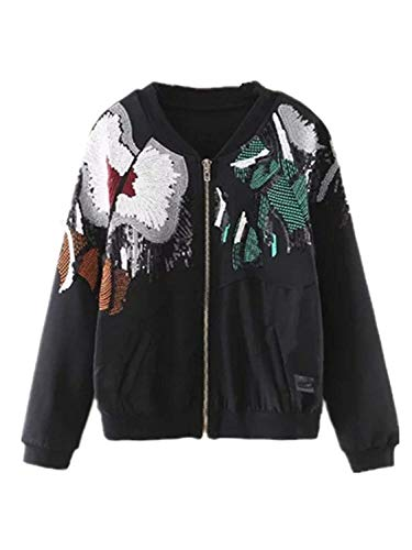 Jacke Damen Frühling Herbst Mit Pailletten Outdoor Bomberjacke Glitzer Loose Trendigen Chic Mantel Langarm Embroidery Reißverschluss Coat...