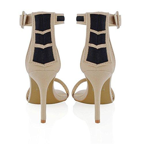 ESSEX GLAM Damen Sandaletten Mit Hohem Stiletto Absatz Fesselriemen Abendschuhe Hautfarbe Kunstwildleder