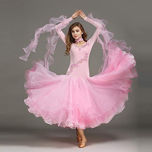 (Liu Sensen Moderne Mode 2018 Dance Kleid Pink Organza Latin Bauchtanz Rock Stickerei Farbe Diamond Professional Tänzer Kostüm Große Größe XL 2XL,S)