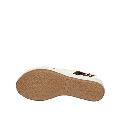 INUOVO 7141 sandales blanches blanc plateforme coin femmes passage Bianco