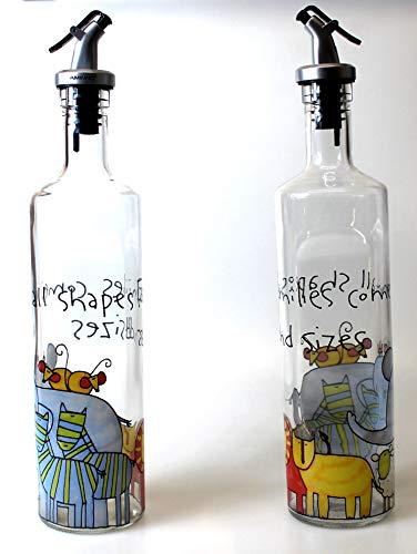 Aminno - Dispensador de aceite y vinagre – 500 ml de botella de cristal para cocinar contenedor de aceite dispensador de botella, 2 unidades para cocina, con palanca vertedor