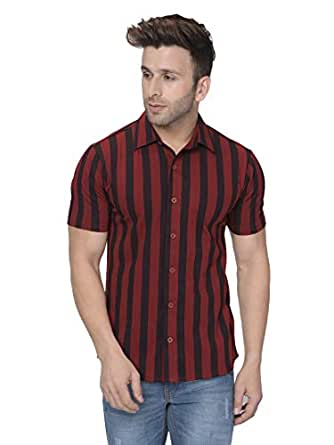 GRITSTONES Men's Cotton Vertical Stripe Half Sleeves Casual Shirt (Maroon and Black, Small)