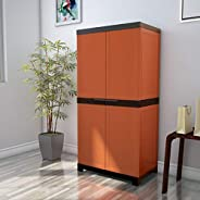 Nilkamal Freedom Mini 18 (FMSC18) Plastic Shoe Cabinet (Rust & Weathered Br