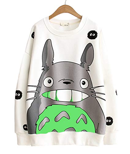 b426edd893a Fashion SH Womens Long Sleeve Plus Velvet Totoro Print Crew Neck Shirt  Pullover Sweatershirt Tops