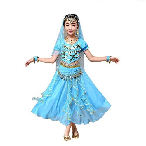 z Kleid Mädchens Chiffon Pailletten Tanzkleidung Indien Mädche Tanzkleidung Karneval Kostüme Komplet Tanz Tuch Chiffon Top + Rock Schleier Hüfttuch (M, Himmelblau) (Kostüme Von Indien)