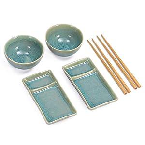 Urban Lifestyle Sushi Set Misaki Türkis für Zwei Personen, 2 Sushi-Teller, 2 Schalen aus Keramik, 2 Paar Essstäbchen aus Bambus